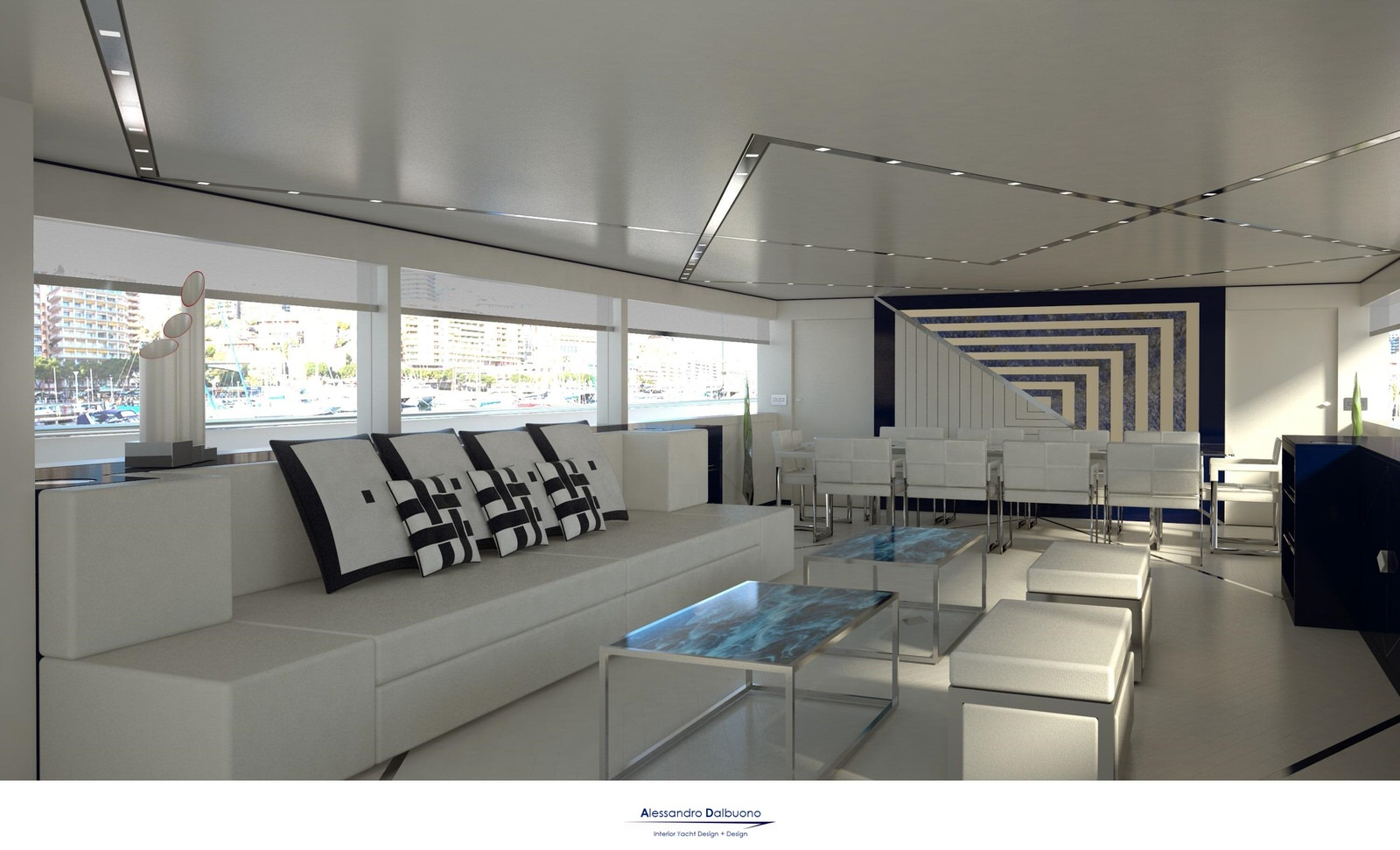 "Alessandro Dalbuono for Logica Yachts project ""Logica 120"" 37 mt - Study of the interiors by inserting the concepts of"